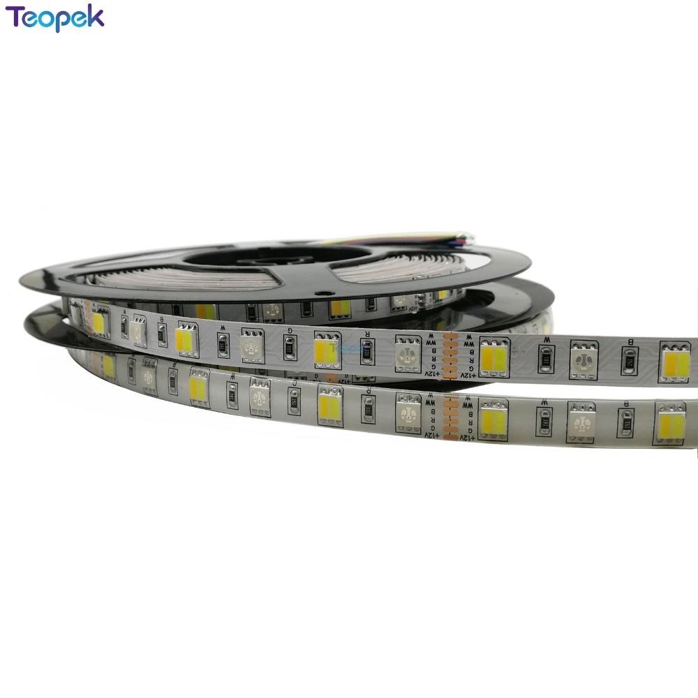 RGB+CCT LED Strip Light 5050 SMD 60LEDs/m RGBW Full Colour Temperature Adjustable LED Strip RGB CCT 12V 24V 10mm PCB 5m/lot