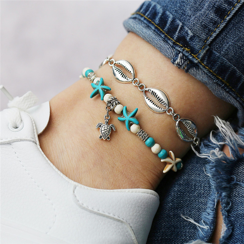 Vintage Multi Layer Beach Turtle, Shell & Starfish Anklets