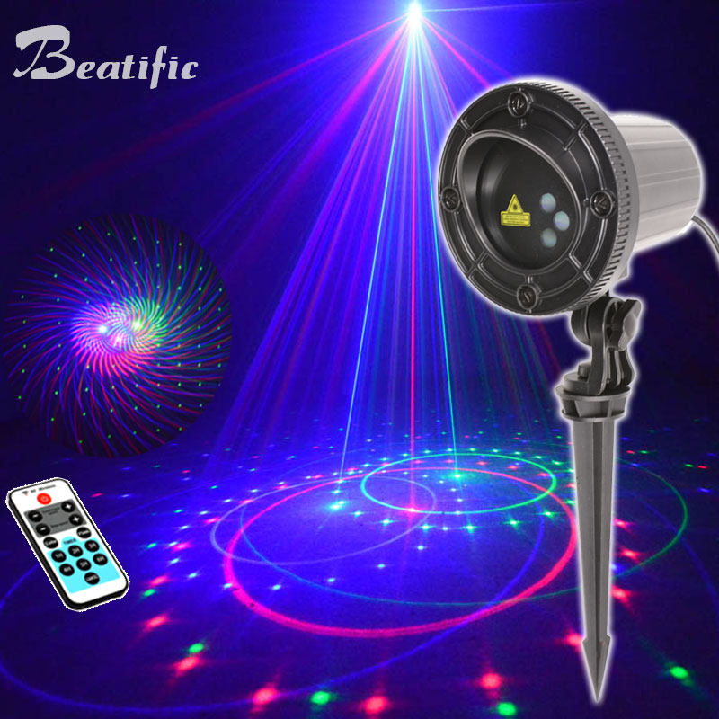 2019 Motion Christmas Laser Lights Outdoor Projector New Year Home Decorations Waterproof Street Festoon RGB 20 Patterns
