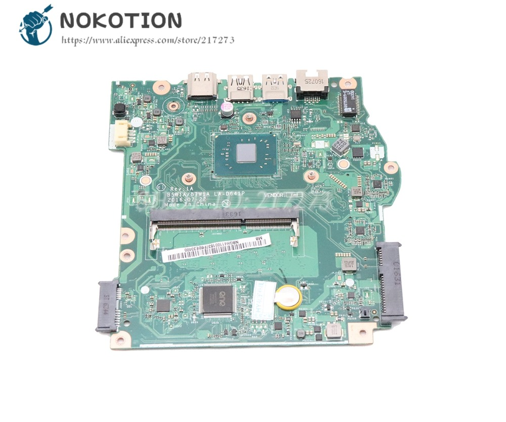NOKOTION For Acer Aspire ES1-533 Laptop Motherboard DDR3 With Processor Onboard B5W1A B7W1A LA-D641P NBGH411001