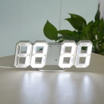 3D USB LED Digital Wall Clock Electronic Desk Table Desktop Alarm Clock 12/24 Hours Display Home Decoration Wake up night lights 14