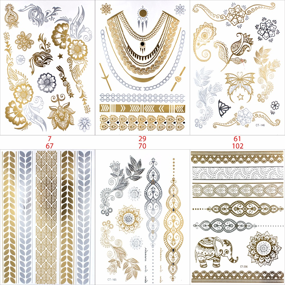 New Design Flash Removable Waterproof Gold Tattoos Metallic Temporary Tattoo Stickers Temporary Body Art Tattoo 1