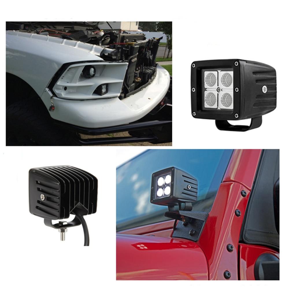 ECAHAYAKU 1x 3 inch 12W LED WORK Light bar Car Off-road SPOT FLOOD lights 4x4 SUV ATV Golf Cart 12v 24v fog Driving Lamp Bulb