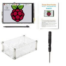 цена на New Original 3.5 Inch LCD TFT Touch Screen Display for Raspberry Pi 2 / Raspberry Pi 3 Model B Board + Acrylic Case + Stylus