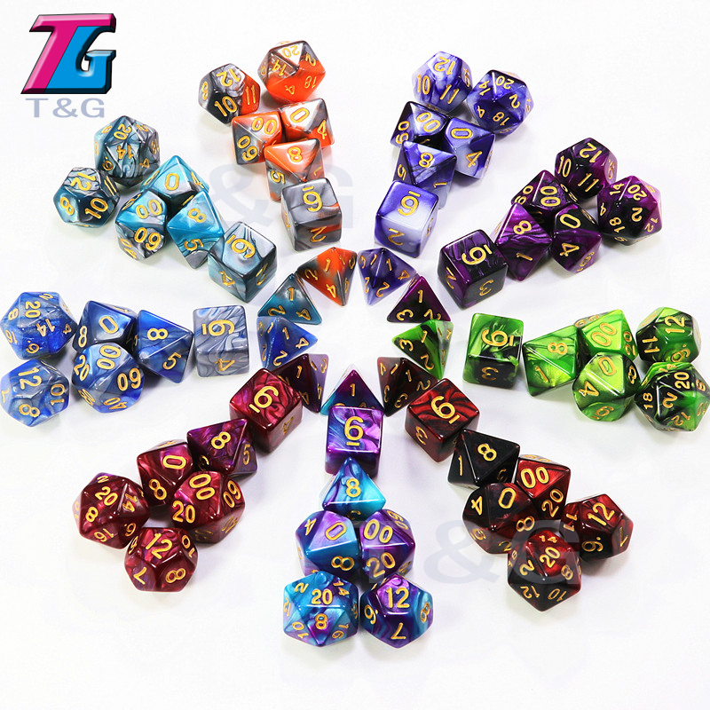 Top Grade 7pcs/set 9 Colors for Choose Gemini Creative Dice Family Games Dungeons&Dragons BoardGame Entertainment