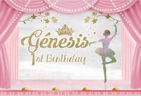 custom ballerina ballet theater princess birthday curtains stage backdrops High quality Computer print party background