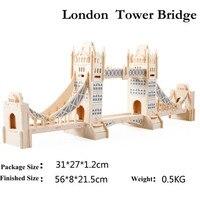 3D Houten Puzzels London Tower Bridge Model Vergadering Jigsaws DIY Educatief Speelgoed Gift Voor Kinderen Gratis Verzending