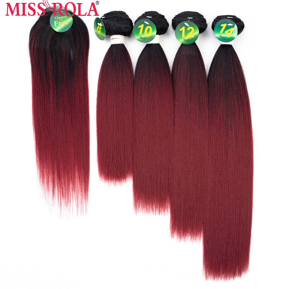 Miss Rola Synthetic Yaki sraight Hair Weft Ombre Colored Hair 8-14inch 4+1pcs/Pack T1B/BUG Weaving Bundles With Free Closure ...