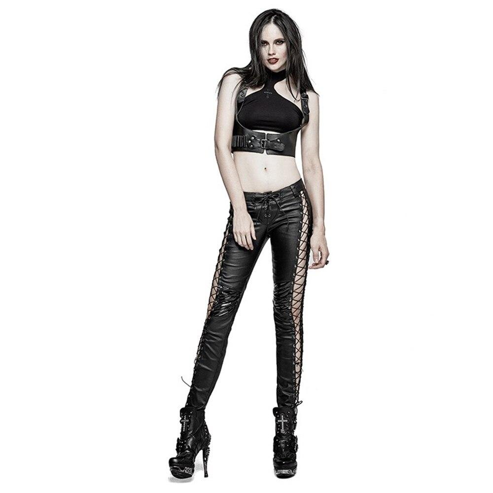 Стимпанк готический ПУ кожа выдалбливают вертикальные полосы леггинсы для женщин панк черный сексуальный низкая талия женские обтягивающ... - 5
