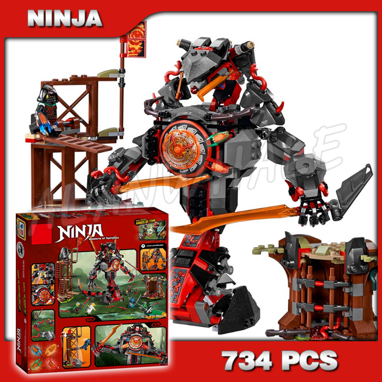 734pcs Ninja Dawn of Iron Doom Snake mech Thunder Swordman 10583 DIY Model Building Kit Blocks Toys Playset Compatible with <font><b>Lego</b></font> image
