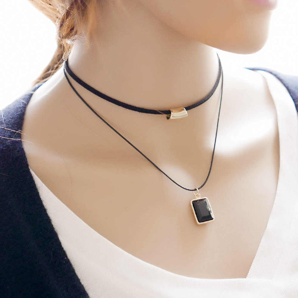 2017 Fashion New Leather Rope Crystal Simple Style Double Necklace / Pendant Box Modeling Fine Necklace Wholesale Gift