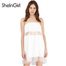 SheInGirl Solid Color Dress Women Sexy Sheer Mesh Contrast Bodycon Mini Dress Ladies Sleeveless Backless Basic Dress Female