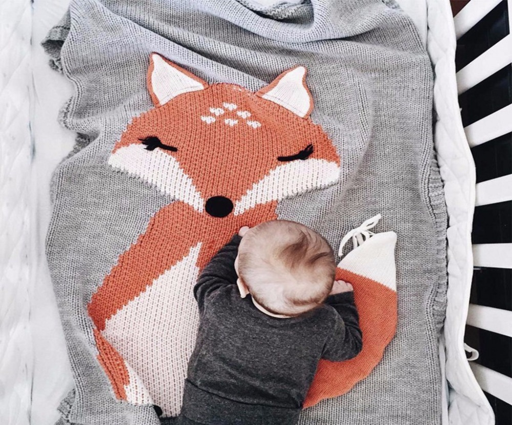 Cotton blanket 3D fox black white rabbit cartoon kintted childrens blue knee blandets throw on Sofa/Bed/Plane 73*110