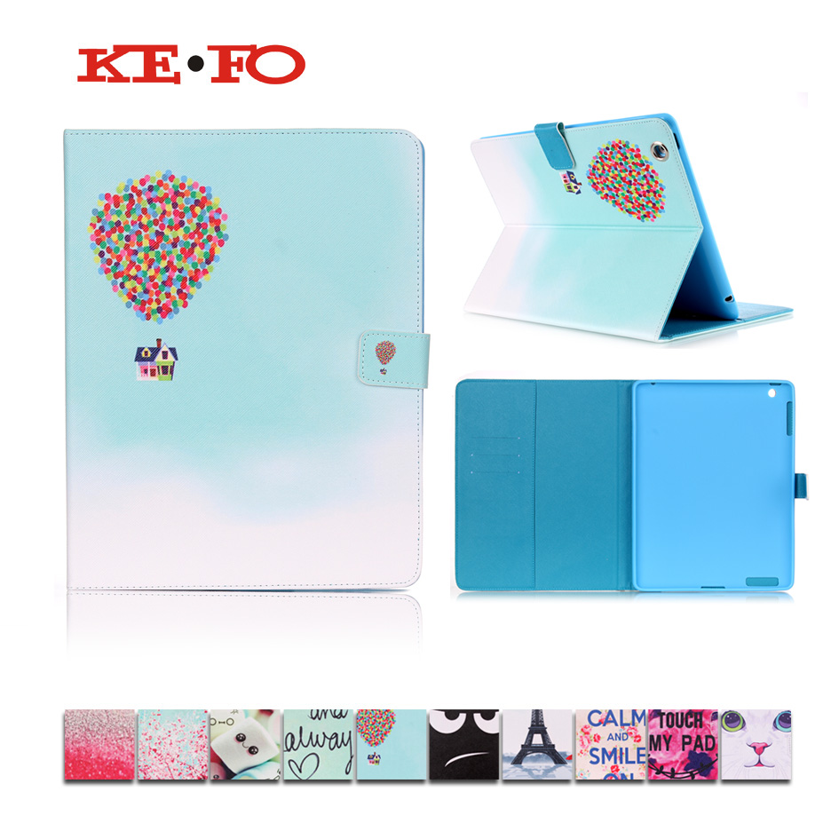 KeFo For Apple ipad 2 3 4 Case For kids Print PU Leather Case For Apple ipad2 ipad3 ipad4 Funda tablet Cover Stand Shell