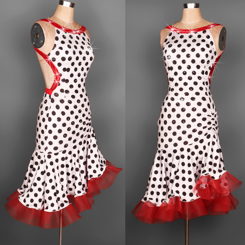 custom spiral polka diamond Paso Double jive Rumba cha cha salsa tango one-piece Latin dance dress competition wear S-XXXL