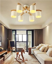 Modern LED Chandelier For Living Room Bedroom Suspendsion Lighting Fixtures Wooden Iron Lampshades Nordic Chandeliers