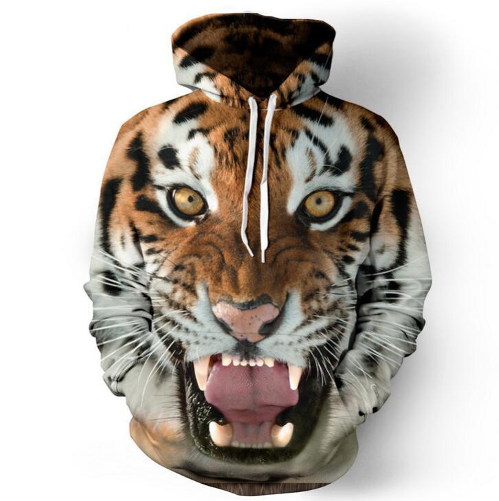2018 новый стиль 3D печатных Тигр для мужчин скидка хлопковые толстовки с капюшоном на Лидер продаж Бесплатная доставка