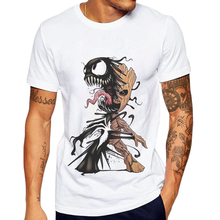 New Sale Men T-Shirt Groot And Venom Printed Funny T Shirts Short Sleeve Casual Tops Mens Clothing 100 Cotton Tee Shirt For Man