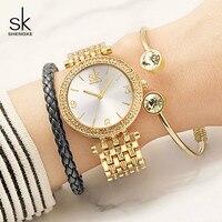 Shengke Top Brand Luxury Women Quartz Watch Bracelet Clock Ladies Wristwatches Relogio Feminino 2018 SK Watches with Bracelet