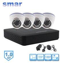 Mini 4 Canaux CCTV NVR H. 264 HDMI 1080 P Sortie Vidéo Système 1.0MP 720 P IP Caméra de Sécurité Kit 24 IR Led Jour Nuit de Surveillance