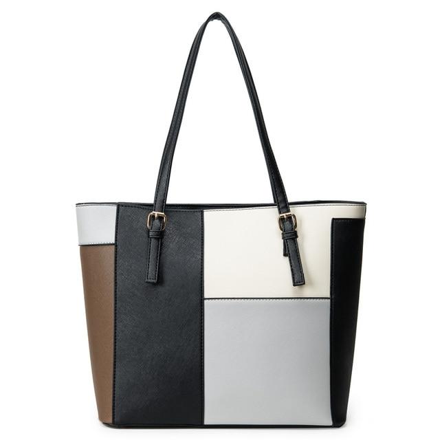 Simple Fashion Handbags 2017 New Totes Bag Color Block Shoulder Women Purses