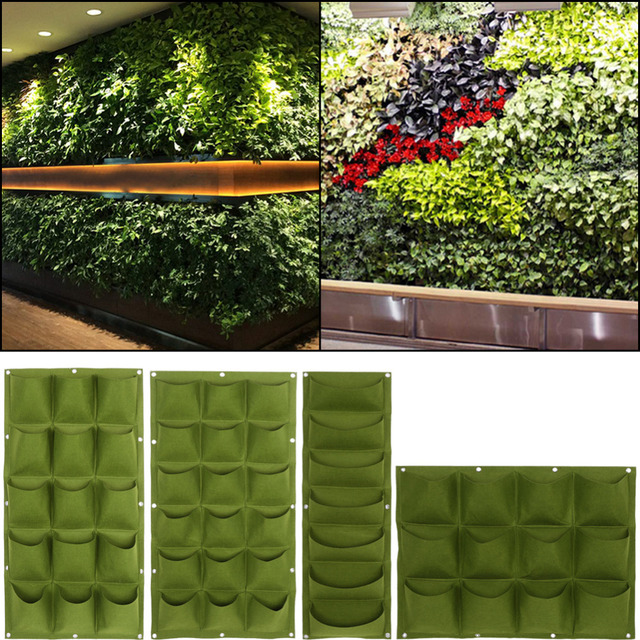 Green Planting Bag Garden Wall Vertical Strawberry Vegetable Garden Flower  Plants Hanging Planter Growing Bags Hanging