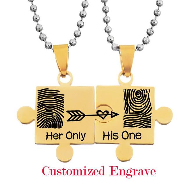 0c97f34fb03e LASPERAL 1 Unidades Acero inoxidable COLLAR COLGANTE tallado personalizado huella  digital corazón para parejas amor regalos