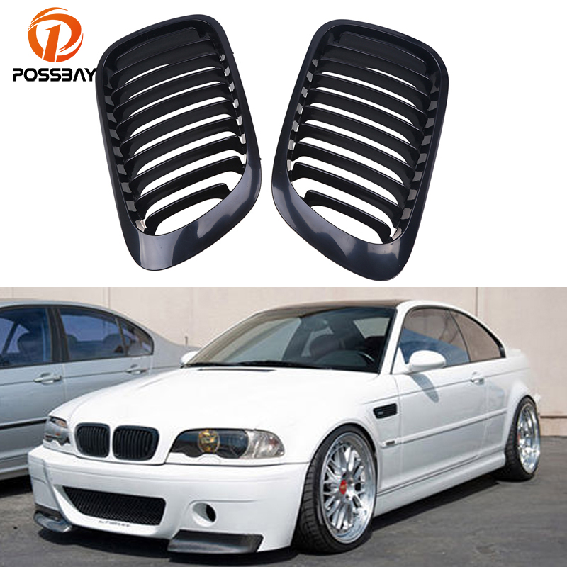 POSSBAY Auto Car Front Bumper Kidney Grill Racing Grille for BMW 3 Series BMW M3 Coupe 2000 2007 2door Voiture Grille Mesh Cover