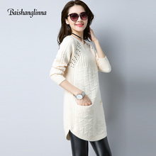 Baishanglinna 2017 Fashion wool Sweater High Quality Autumn Winter Sweater female O-neck Knitted long sweater women clothes
