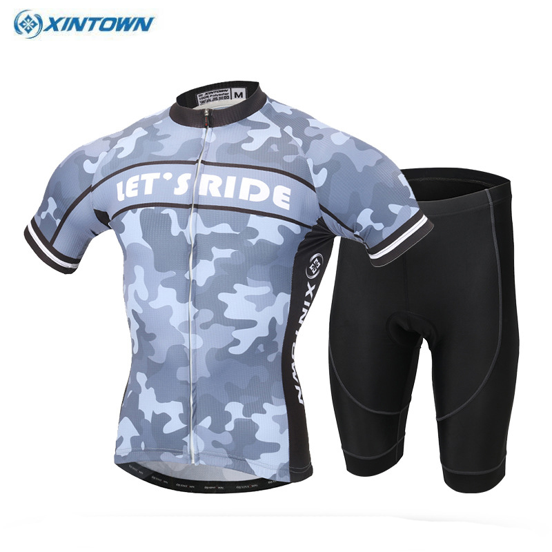 2017 XINTOWN  Mountain Bike Ropa Ciclismo Summer Clothing Kit Coolmax Cycling Cycle Jersey & (Bib) Shorts Set women s long cycling clothing mountain bike kit reflective cycle jersey