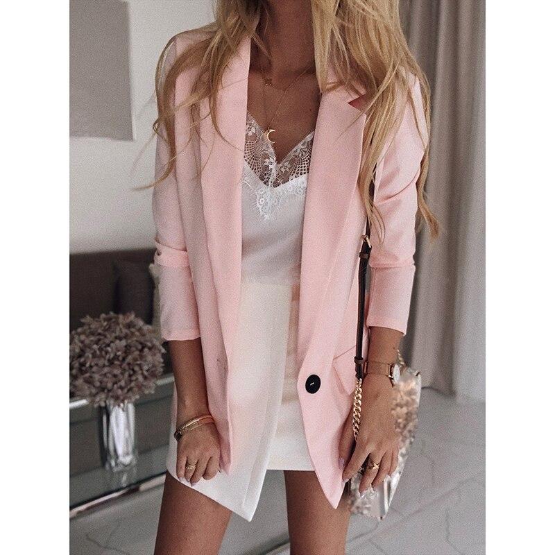 Plus Size S-5XL Women Autumn Winter Long Sleeve Slim Casual Blazers Ladies Business Elegant Solid European Style Suit SJ3717M