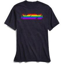 Tees Rainbow Summer T-shirts Surfer Man T Shirt Autumn Gay Pride Short Sleeve Pure Cotton Round Neck Mens T-Shirt Wholesale
