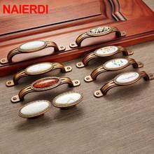 NAIERDI Vintage Ceramic Gold Cabinet Handles Drawer Knobs Zinc Alloy Wardrobe Door Pulls European Furniture Handle