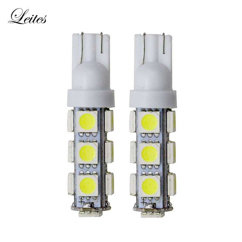 Leites 100PCS White T10 13 SMD 5050 194 168 192 Auto Car Side Light Bulb Auto LED W5W 12V Wedge Lamp Wholesale Car Led Light wholesale taxi led light auto indicator lamp vehicles car windscreen cab sign white led taxi lamp 12v car styling free shipping