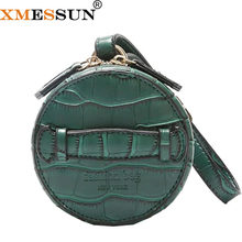 XMESSUN Women Mini Circle Clutch Bag Crocodile Pattern Purse Luxury Small Wristlets Ladies Credit Card Wallet Bags Shiping H46(China)