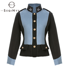 SEQINYY Autumn Jacket 2020 Winter High Quality Star Embroidery Buttons Blue Black Women Long Sleeve Warm Short Top