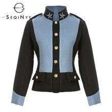 Seqinyy outono jaqueta 2020 inverno de alta qualidade estrela bordados botões azul preto feminino manga longa quente curto topo