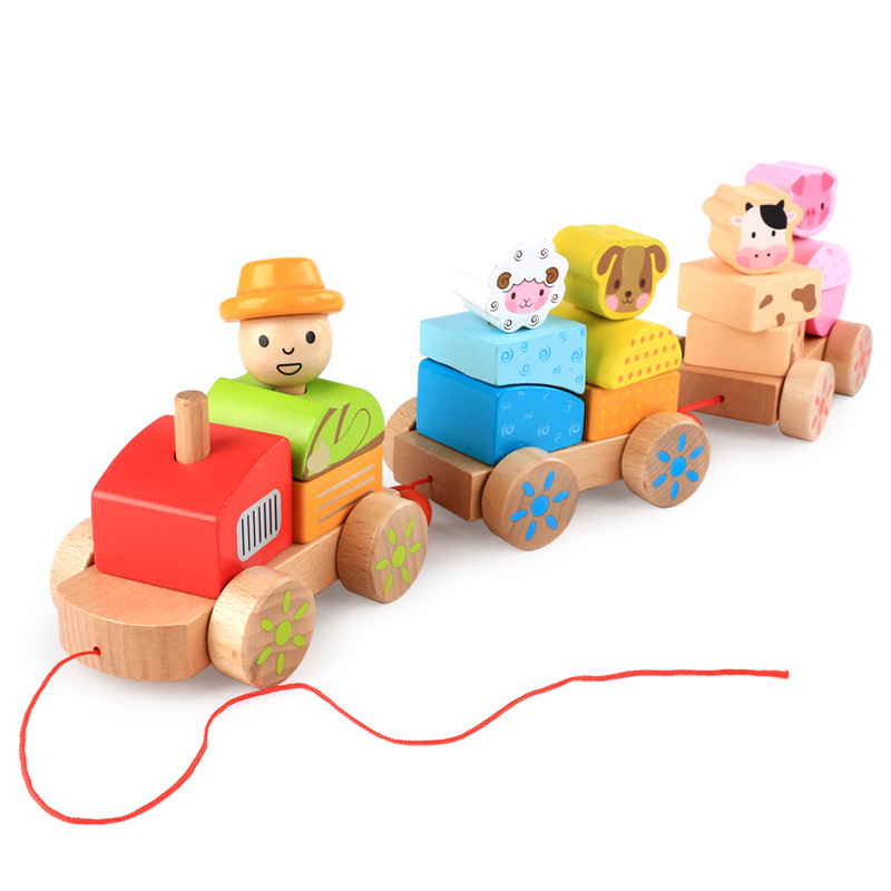 Children's Wooden Building Blocks tractor farm animals three small trains infants early childhood cognitive learning toys free delivery factory price children s educational three small trains toys wooden blocks trains kids models building toy