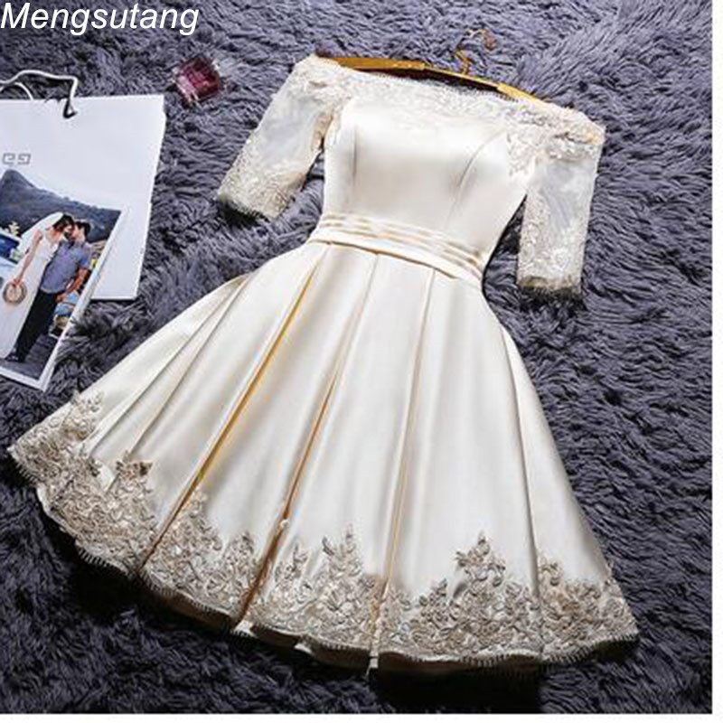 Robe De Soiree 2019 Boat Neck Short A Line Banquet Reflective Dress Bridesmaid Dress  Lace Elegant Formal Champange Prom Dress(China)