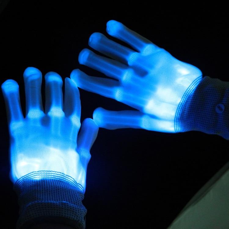 Cool LED Rave Flashing Gloves Glow 7 Mode Light Up Finger Lighting Black LU