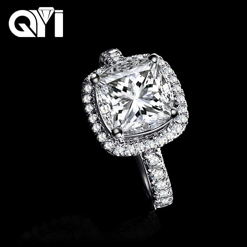 Qyi 925 Sterling Silver Engagement Rings 3 Ct Cushion Cut Sona Simulated Diamond Lady Bridal Ring Jewelry Gifts Aliexpress