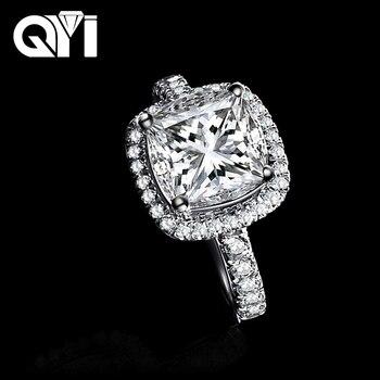 a2e3892e93c6 QYI de Plata de Ley 925 Anillos De Compromiso 3 Ct cojín corte Sona diamante  simulado nupcial dama anillo de la joyería regalos