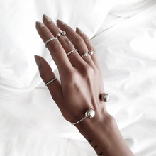 Tocona 6pcs/Set Punk Bohemia Simple Hand Cuff Charm Bracelet Bangle for Women Silver Bracelets Femme Party Jewelry Gift 3859(China)