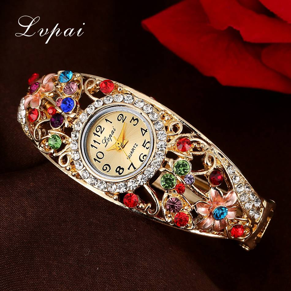 Lvpai Fashion Women Watch Classic Alloy Crystal Bracelet Flower Wristwatches Women Dress Watches Casual Gift Quartz Watch 2017 lvpai flower rose gold bracelet watches women fashion casual quartz watch rhinestone wristwatches girls bangle women watch