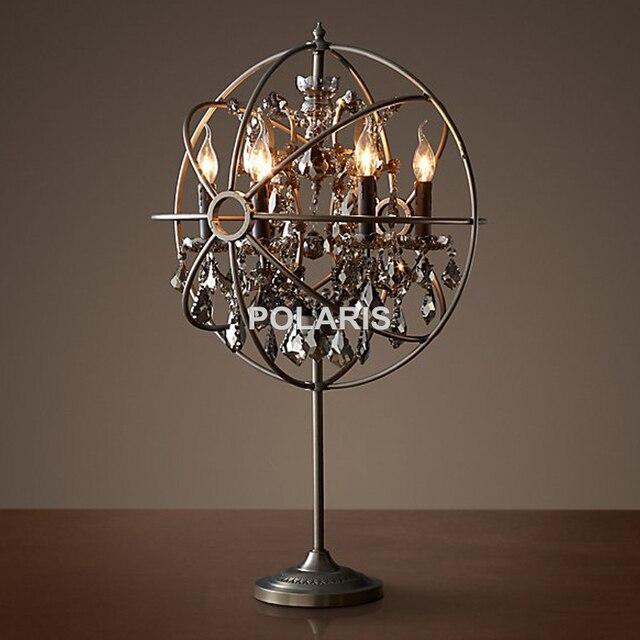 Merveilleux Factory Outlet Vintage Crystal Candle Lighting Rustic Matt Black Orb Table  Lamp Desk Lights For Home