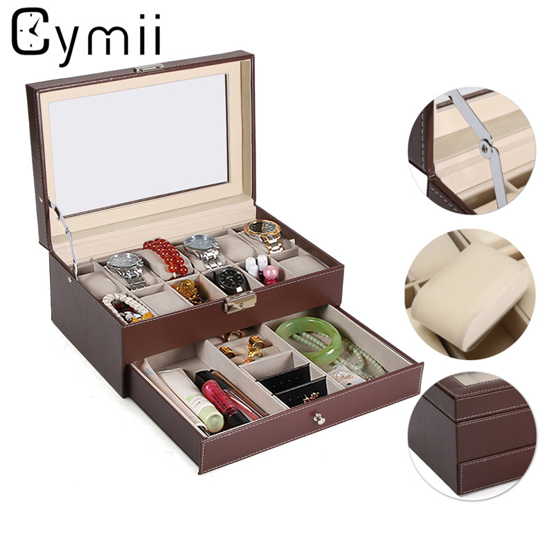 Cymii 12 Slot Jewelry Watch Storage Holder Case Wrist Watch Display Box Watches Holder Organizer Case Watch Box Gifts dark wine red wooden watch display box automatic switch and lock watches case jewelry storage holder organizer free shipping