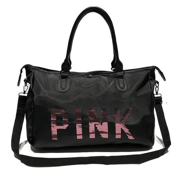 Wobag negro bolsa de viaje Rosa moda lentejuelas hombro bolso mujer bolso damas FIN DE SEMANA Portátil Bolsa impermeable bolsa de lavado