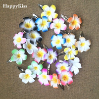 Happykiss 50 color mezclado espuma hawaiana del Plumeria Frangipani flor nupcial del pelo clip chica boda bbclip 11 colores