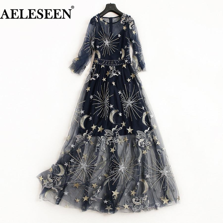 AELESEEN European Black Women Dresses 2018 Fashion Navy Summer Hollow Out Luxury Starry Sky Embroidery Designer Long Dress