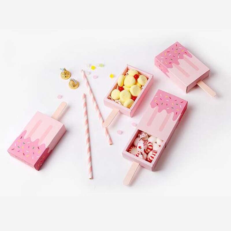 50 шт. прекрасный розовый синий ящик эскимо Форма конфеты Коробки Baby Shower подарочной коробке День рождения украшения
